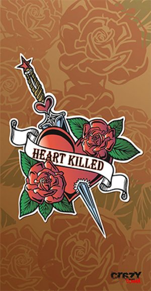 1018 Toalla tattoo heart killed brown