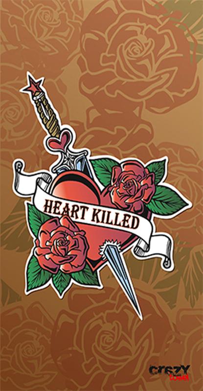 1018 Toalla tattoo heart killed brown