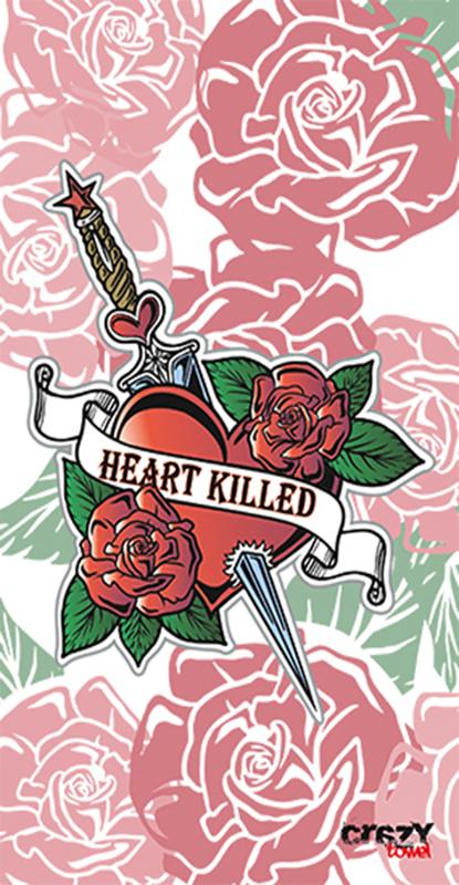 1019 Toalla tattoo heart killed white