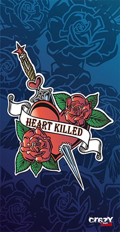 1020 Toalla tattoo heart killed blue
