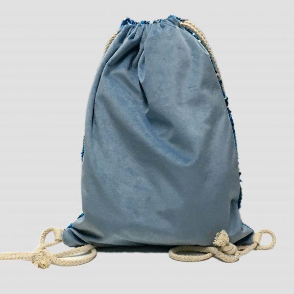 trasera mochila lentejuela azul