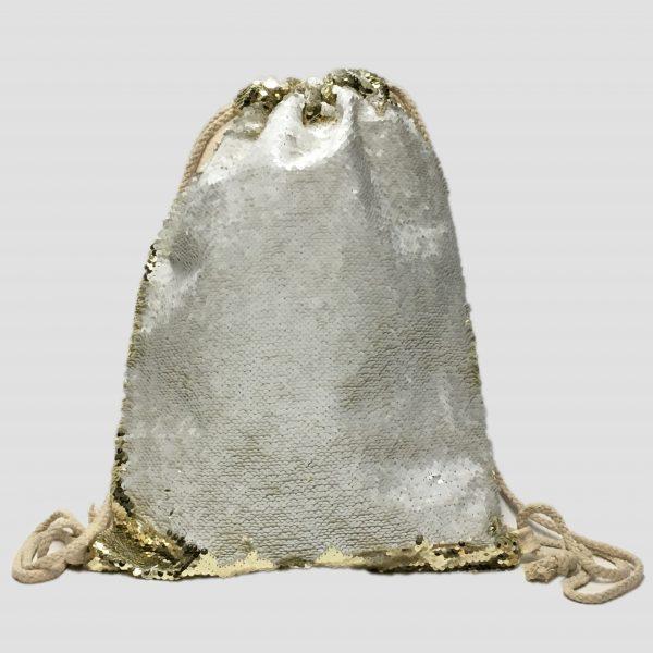 trasera mochila lentejuela dorada