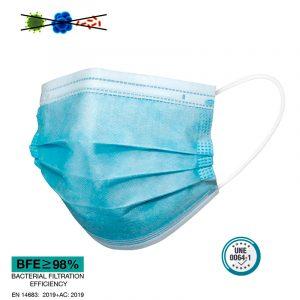 Mascarilla higiénica económica azul